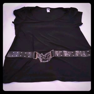 Deb Plus Size 3X Black Cap Sleeve Blouse Belted